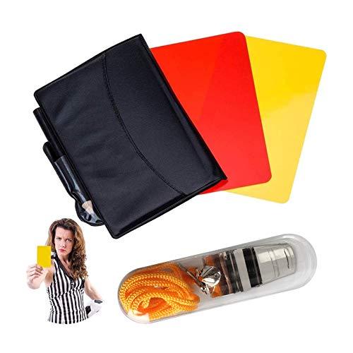 ABD Sport Schiedsrichter Karten Set Rote Karte Gelbe Karte mit Tasche und Metall Schiedsrichter Pfeife Trainer Pfeife für Fußball
