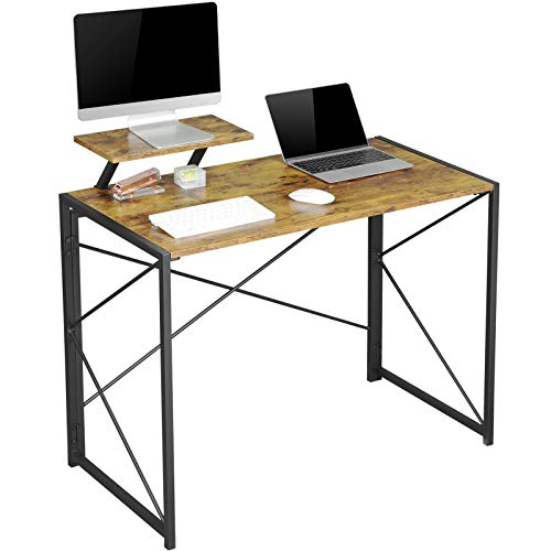 MSmask Folding Desk, Computer Desk with Movable Monitor Stand, Simple Small Desk Study Writing Workstation for Home Office (Vintage+Stand)