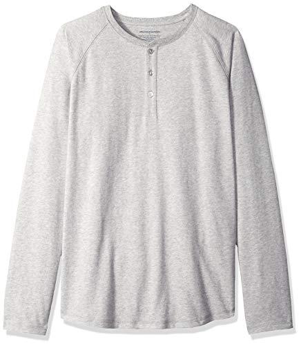 Amazon Essentials Men's Regular-Fit Long-Sleeve Henley Shirt, Light Grey Heather, Large