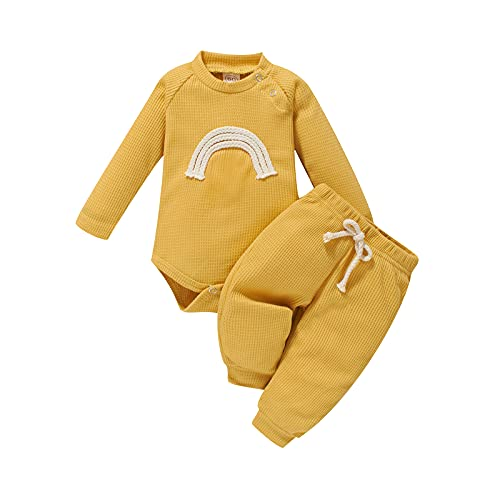 Infant Baby Girls Boys Ribbed Clothes Rainbow Long Sleeve Romper Bodysuit Top + Elastic Waist Pants 2Pcs Outfits (Yellow, 6-9 Months)