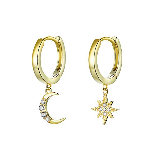 Vioness - Pendientes de aro para mujer de plata 925 y circonio, diseño de estrella de luna dorada
