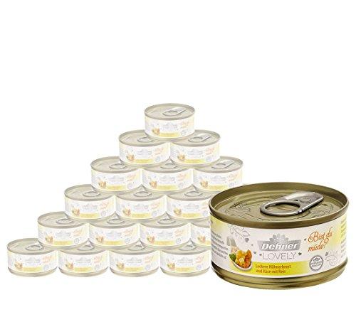 Dehner Premium Lovely Katzenfutter Adult, Ergänzungsfutter, Hühnerbrust und Käse mit Reis, 24 x 70 g (1680 g)