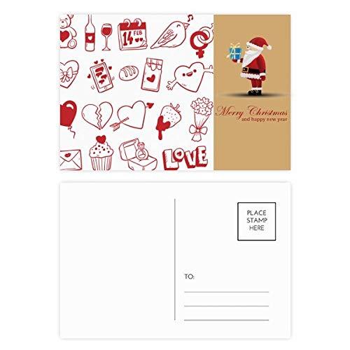 Valentijnsdag wijn liefde vogel hart kerstman ansichtkaart set dank kaart versturen 20 stks