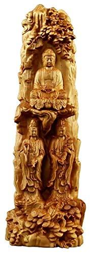 Escultura de escritorio Tres santos escultura Boxwood Wood Talla de madera Meditación Occidental Estatua Estatua Estatua Oficina Inicio Oficina Colección Artes de Arte de Regalo Arte