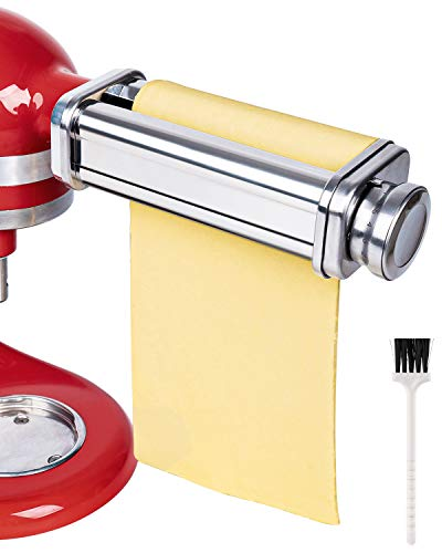X Home Universal Pasta Roller Attachment Compatible with Kitchenaid Stand Mixers, Stainless Steel Dough Roller Accessory, Pasta Maker Including Cleaning Brush