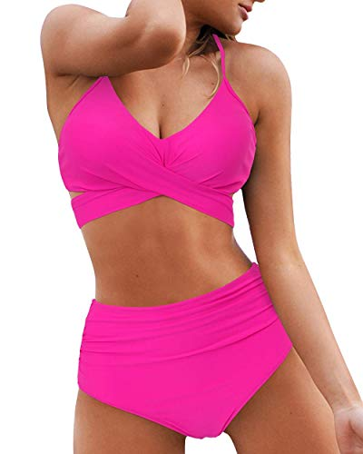 OMKAGI Women High Waisted Bandage Bikini Top Wrap Two Piece Push Up Swimsuits(M,87-Hot Pink)