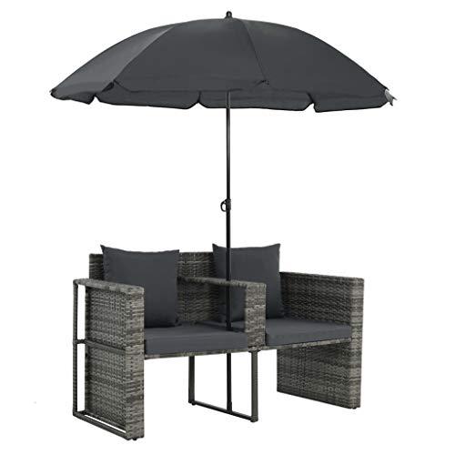 vidaXL Gartenlounge mit Sonnenschirm Poly Rattan Lounge Garnitur Gartenmöbel - 6