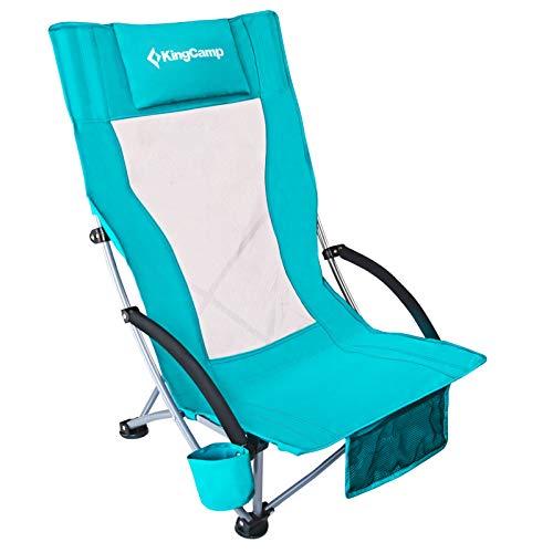 KingCamp Beach Chair Folding High Mesh Back Low Camping Chairs Lightweight Low Sling Reclining Beach Chair for Beach Fishing Camping Picnic Cyan