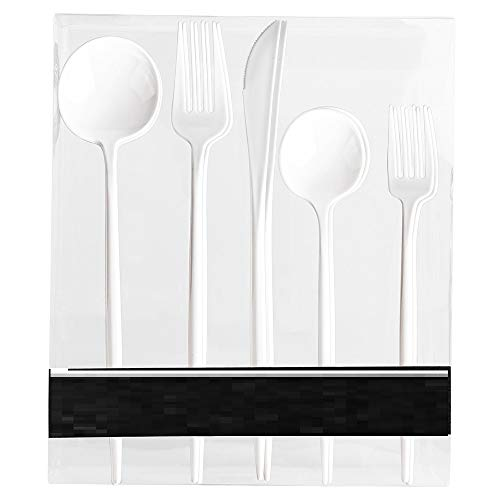 Novelty Modern Flatware Cutlery Disposable Plastic Combo Set 40 Count Luxury White, Service for 8