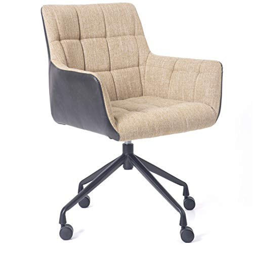 Blairot Home Office Chair Retro Mid Century Waxed Discoloration Leather Chair Mid-Back Linen Fabric Accent Chair with Arm Computer Desk Chair Task Swivel with Wheels for Living Dining Room(Yellow)
