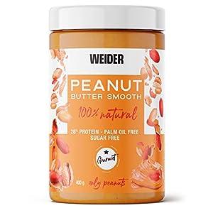 Weider Peanut Butter. 100% Mantequilla De Cacahuete natural con textura suave y cremosa. Sin azúcares añadidos. Apta para veganos. Sin aceite de palma 400g