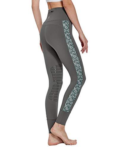FitsT4 Reithose Reitleggings Damen mit Silikon Kniebesatz und Gürteltasche, elastische REIT-Tights mit bedrucktem MESH-Gewede an Hosenbein für Reitschule Reitsport