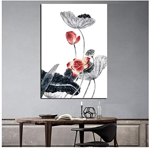 NIESHUIJING druk op canvas HD traditionele Chinese kalligrafie schilderij roze lotusblad kunst wandschilderij voor woonkamer bank decoratie 15,7