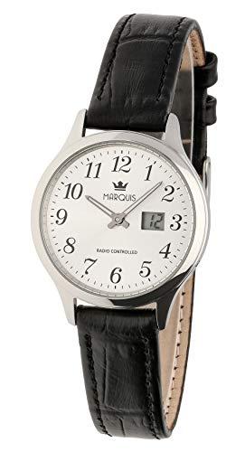 MARQUIS Damen Armbanduhr Funkuhr Schwarzes Lederarmband mit Edelstahlverschluss Edelstahlgehäuse 4006-503