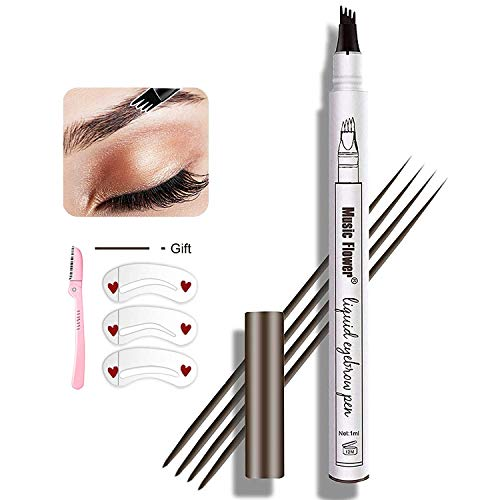 Eyebrow Tattoo Pen,Tat Brow Microblading Eyebrow Pencil Waterproof Microblade Brow Pen Make Up with a Micro-Fork Tip Applicator Creates Natural...