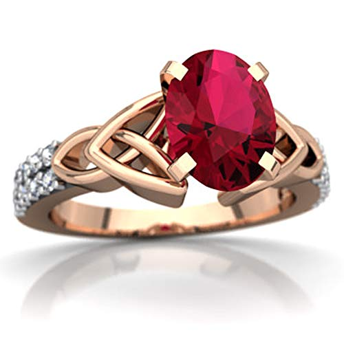 glowspectrajewels Celtic Knot Valentine Day Engagement Ring 0.99 CTW Oval Cut Ruby & White CZ Diamonds 14K Rose Gold Fn (6)
