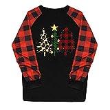 LILIGOD Weihnachten Damen Bekleidung Mode Langarm T-Shirt Frauen Beiläufige Weihnachtsdruck Plaid Oberteile Raglan Lange Hülsen Hemd Blusen Baumwolle T-Shirt Langarmshirts