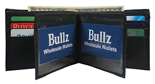 Bullz Men's Genuine Leather Multi Pocket Double ID Mens Wallet Bifold