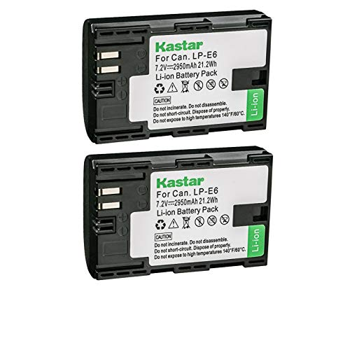 Kastar 2-Pack Battery Replacement for Canon LP-E6, LP-E6N, LP-E6N Pro, LP-E6NH Battery, Canon LC-E6, LC-E6E Charger, Canon BG-E6, BG-E9, BG-E11, BG-E13, BG-E14, BG-E16, BG-E20, BG-E21, BG-E22 Grip
