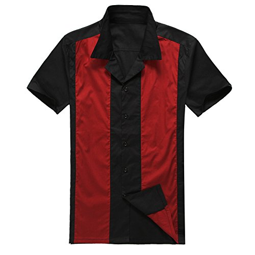 Candow Look Herren Freizeit Hemd Rot&Schwarz Retro Shirt (XXX-Large)