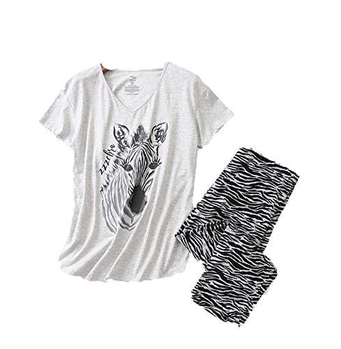 MOOPYS& Calf-Length Pants LooseHome Clothes forWomen Print AnimalPajamas 2 Piece CasualHomewear Female s AtoffHome as Photo L (65-75) kg