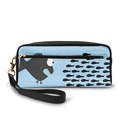 Pencil Case Pen Bag Pouch Stationary,Little Fishes United to Fight with Big Fish Theme Aquatic Wildlife in The Ocean,Small Makeup Bag Coin Purse