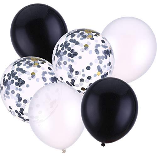 30 Stück 12 Zoll Latex Ballons Konfetti Ballon für Hochzeit Geburtstag Party Dekoration (Weiß und Schwarz)