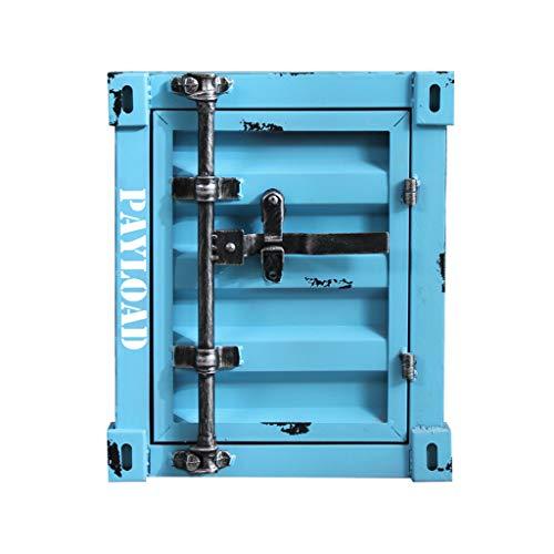 Comodino, Retro Loft Mobile Contenitore Creativo in Stile Industriale Armadietto Contenitore Soggiorno Divano Tavolo Tavolino Quadrato Tavolino Da Telefono Scrivania Tavolo Decorativo,Blue a