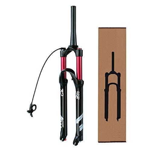 VPPV Horquillas de bicicleta de montaña 26 29ER Absorbente, aleación de magnesio bloqueo remoto 1-1/8 'Downhill Horquillas de viaje de 140 mm (color: A, tamaño: 27.5')
