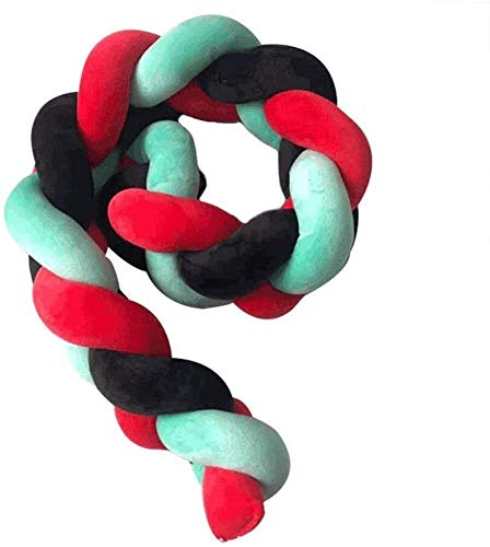 LCSHAN Geflochtene Babybett Stoßstange Lange Verdreht, Handgewebt Bed Umfang Krippe Stoßstange Protect Der DREI-Strang Drehen Geflochtenem Zaun (Color : Black+red+Green, Size : 100cm)