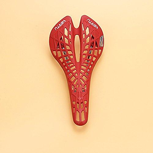 Super Light plástica de la Bicicleta Saddle Mountain Bike MTB de Silla 5 Colores Cojín de PVC Red