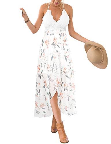 Blooming Jelly Womens Deep V Neck Sleeveless Summer Asymmetrical Floral Maxi Dress