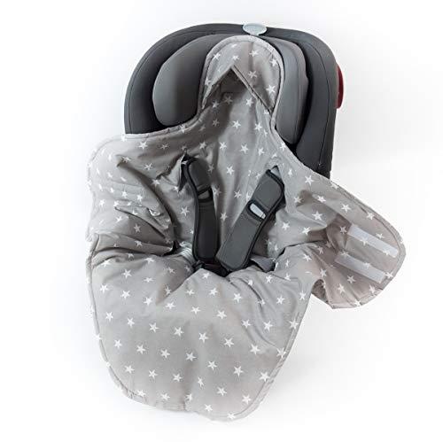 Sango Trade Babydecke für Kindersitz im Auto Babytrage Kinderwagen perfekt während einer Reise 100% Baumwolle Antiallergische Füllung Weich 100 cm x 120 cm (Grauer Stern)
