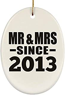 ances Lincoln Anniversary Ornament, Mr & Mrs Since 2013 Oval Ornament, Christmas Tree Decor, Best Gift for Wedding, Dating, Engagement by Husband, Wife, Boyfriend, Girlfriend