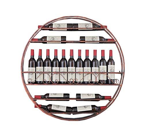 LIYANJJ 17 Bottles Circular Wine Rack Wall-Mounted Decoration Shelf Cafe Bar Display Stand Sand