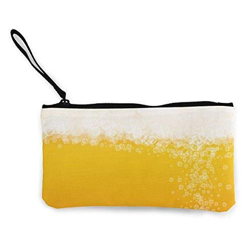 Lagerbier mit Craft Splash Canvas Geldbörse Wechselgeldbeutel Reißverschluss Kleine Geldbörse Brieftaschen 4,5 x 8,5 Zoll mit Reißverschluss Brieftasche