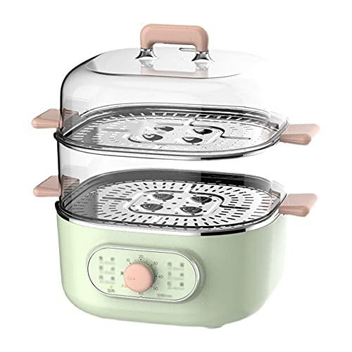 Cocedor de huevos eléctrico multifunción Visual, pequeño, 2 capas, vaporizador de huevos, apagado automático para alimentos al vapor, puede establecer el tiempo de forma independiente