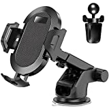 【2021 NEW】VOVIGGOL Universal Cell Phone Holder for Car Phone Mount Car Phone Holder Dashboard Windshield Air Vent Long Arm Strong Suction Cell Phone Car Mount Fit for iPhone Samsung All Phones (Black)