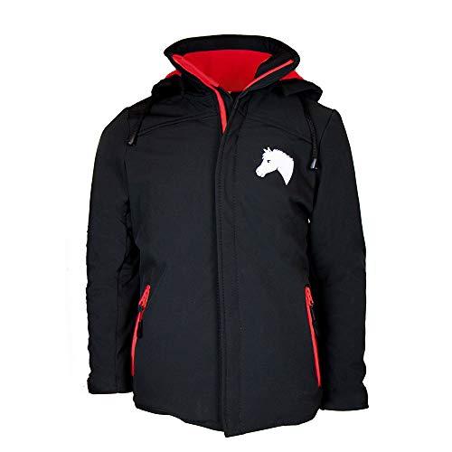 MS-klederdracht kinderen rijjas softshell jas Lea met gewatteerde voering zwart rood