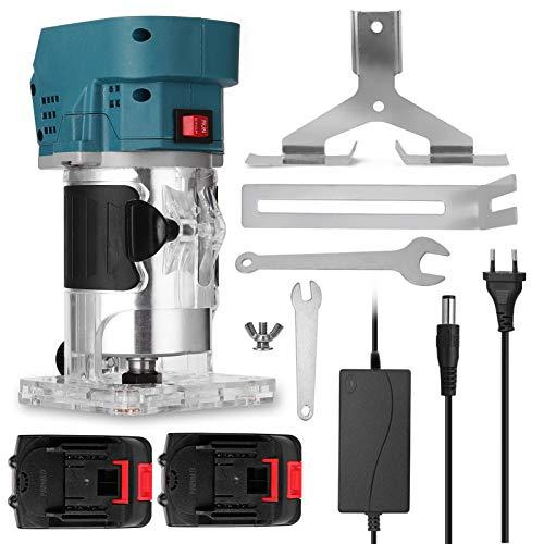 KKmoon Fresadora para Madera, Máquina Cortadora Eléctrica Multifuncional 21 V, 1300 mAh de Batería para Carpintería, Fresadora Electromecánica de Madera, Máquina Ranuradora de Grabado