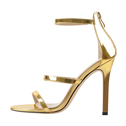 MissHeel Strappy Stiletto Heel Gold Open Toe Sexy Sandals Ankle Strap Heeled Sandles High-Heel Pointed Prom Dress Size 6