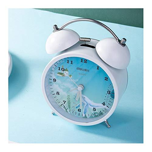 jinrun Cama Infantil Pequeño Reloj Noche Luz Función Mute Alarma Reloj de Alarma Tumbado Moda Desk Reloj Reloj Despertador Reloj (Color : B)