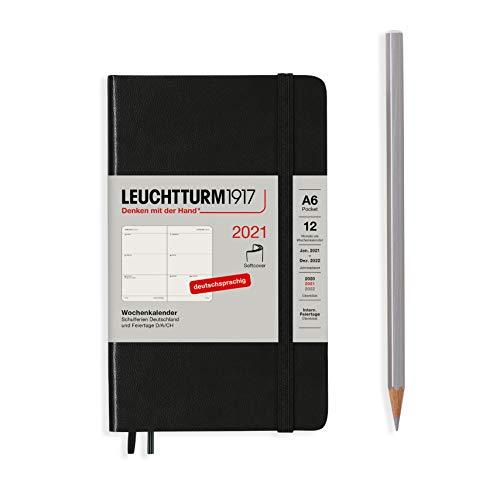 LEUCHTTURM1917 362043 Schwarz, Wochenkalender, Softcover, Pocket (A6) 2021, Deutsch