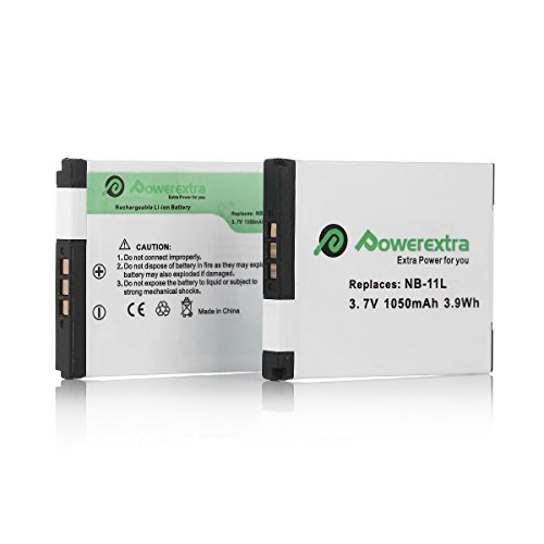 Powerextra 2 Pack Battery for Canon NB-11L, NB-11LH and Canon PowerShot A2300 IS, A2400 IS, A2500, A2600, A3400 IS, A3500 IS, A4000 IS, ELPH 110 HS, ELPH 115 HS, ELPH 130 HS, ELPH 135 IS, ELPH 140 IS