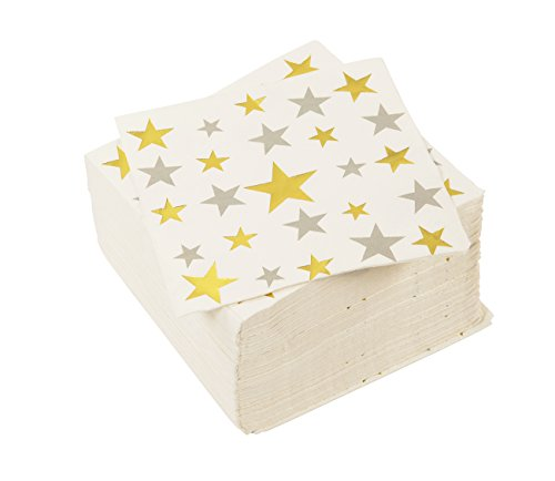 100 Pack Cocktail Napkins Bulk, 3-Ply Silver & Gold Stars Disposable Paper Napkins for Birthday and Baby Shower, Folded 5 x 5 Inches