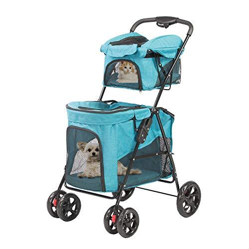 Vilobos Double Decker Pet Stoller 4 Wheels Lightweight Foldable 2 Puppy,Dog and Cat Strollers Carrier for Walk,Travel, Jogger
