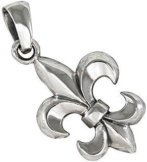 Colliers et pendentifs en métal précieux sans pierres 925 Sterling Argent rhodium plaqué noir émail Fleur de Lis Charm Pendentif Joaillerie