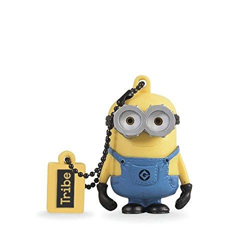 Tribe Los Minions Despicable Me Bob - Memoria USB 2.0 de 16 GB Pendrive Flash Drive de Goma con Llavero, Color Amarillo