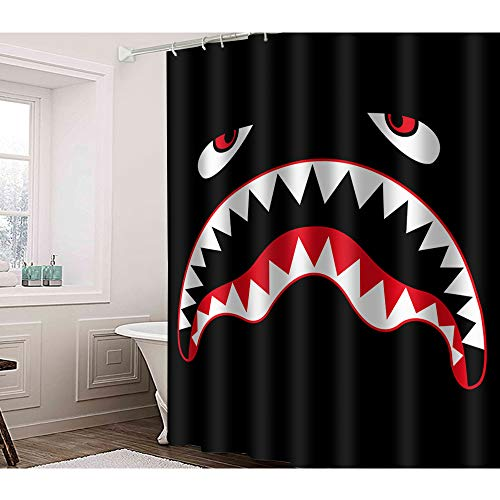 Irongarden Blut Hai Duschvorhang Meerestier Rot Big Mouth Shark Fierce Fish On Black Backgro& Fashion Home Decor Waterproof Badvorhänge mit Haken 182,9 x 182,9 cm