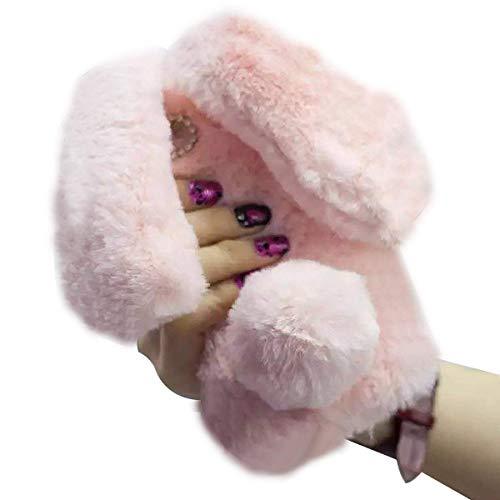 Ostop Compatible avec Coque iPhone 13 Mini Étui Oreilles Lapin Peluche 3D Mignon Housse Filles Doux Hiver Chaud Fourrure Scintillant Diamant Coque Antichoc en Silicone Souple,Rose